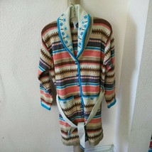 Storybook Knit Cardigan Sweater Southwestern Jewel Size L - $54.45