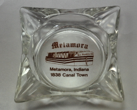 Metamora Indiana 1838 Canal Town clear glass Ashtray