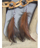 Feather Earrings, Brown and Black Pierced Earrings, Dangles Feathered  - $9.95