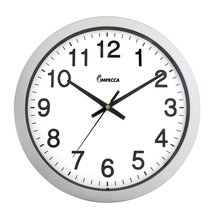 IMPECCA 14 Inch Sweep Movement Wall Clock, Silver Frame - $26.99