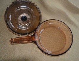 """Visions Corning Ware Skillet Pan & Lid  Amber France 7.5"""" Cookware textu... - $14.50"""