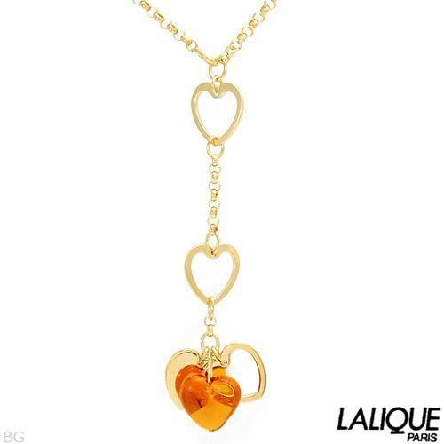 LALIQUE HANDMADE NECKLACE WITH CRYSTAL MADE OF GOLD PLATING