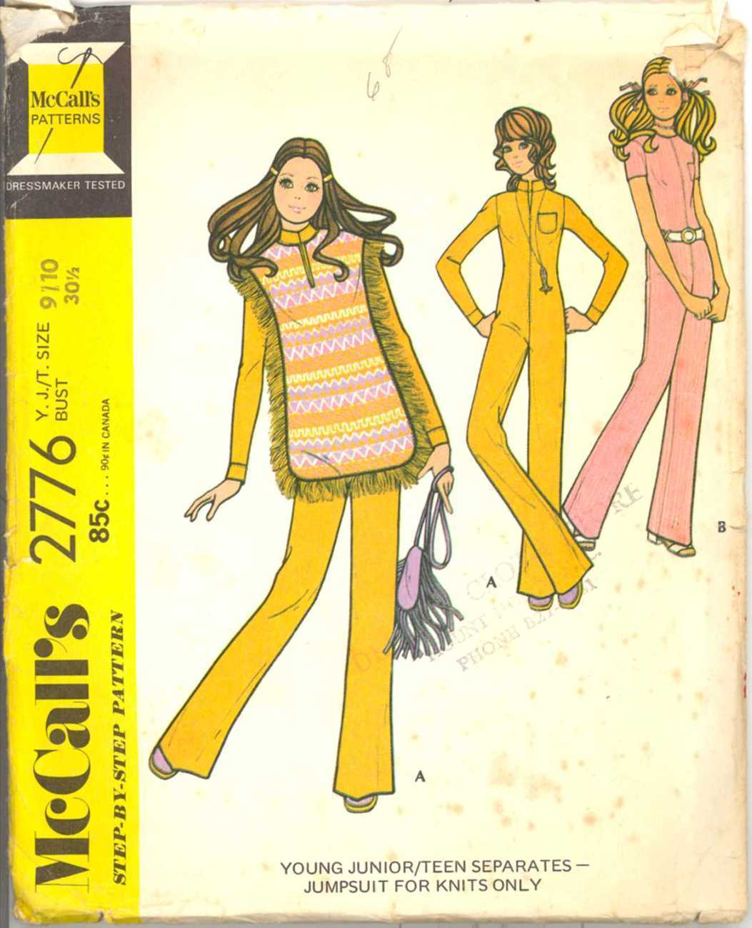 1970s Jumpsuit Poncho Hippie Mod McCalls 2776 Bust 30 Boho Sewing Pattern McCall's