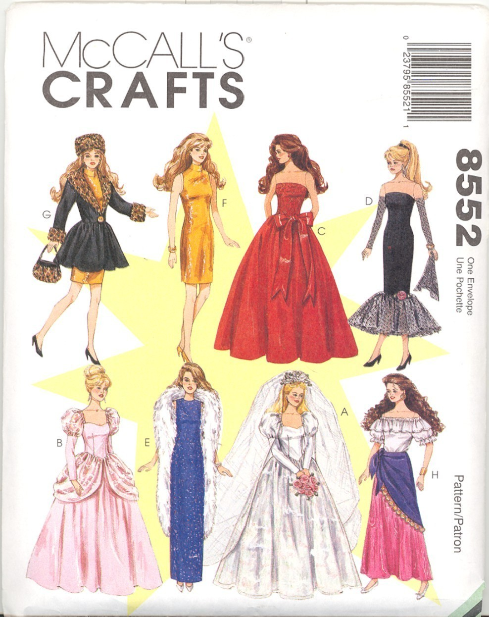 New 11 half inch Fashion Doll Wedding Gypsy Gown Clothes McCalls 8552 Pattern McCall's