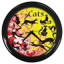 Cats Custom Black Wall Clock - $19.95