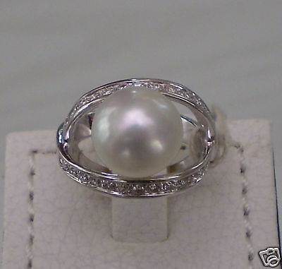 VERETTA RING WHITE GOLD, DIAMONDS 0.45 CT AND PEARL AUSTRALIAN DIAMETER 12 MM