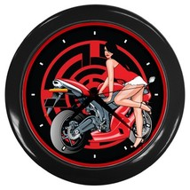 Pinup Biker Custom Black Wall Clock - $19.95