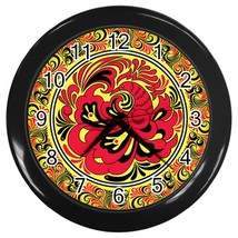 Folk Art Custom Black Wall Clock - $19.95