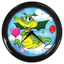 Dragon Kids Custom Black Wall Clock - $19.95