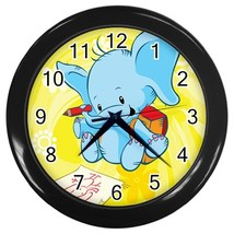 Elephant Kids Custom Black Wall Clock - $19.95