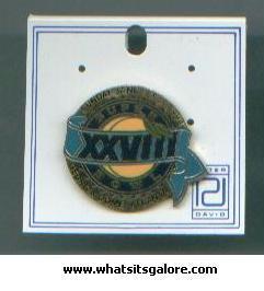 SUPER BOWL XXVIII enamel pin, 1994 Atlanta