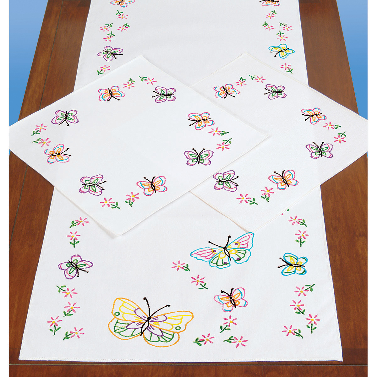 Primary image for Jack Dempsey Stamped Dresser Scarf & Doilies Perle Edge-Fluttering Butterflies