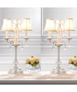 2 Vineyard Inspiration White Chandelier Table Lamps w/ Faceted Jewels - $127.71