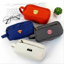 Pencil Case Cute Big Superhero Canvas Creative Large Capacity Open Zippe... - $5.99