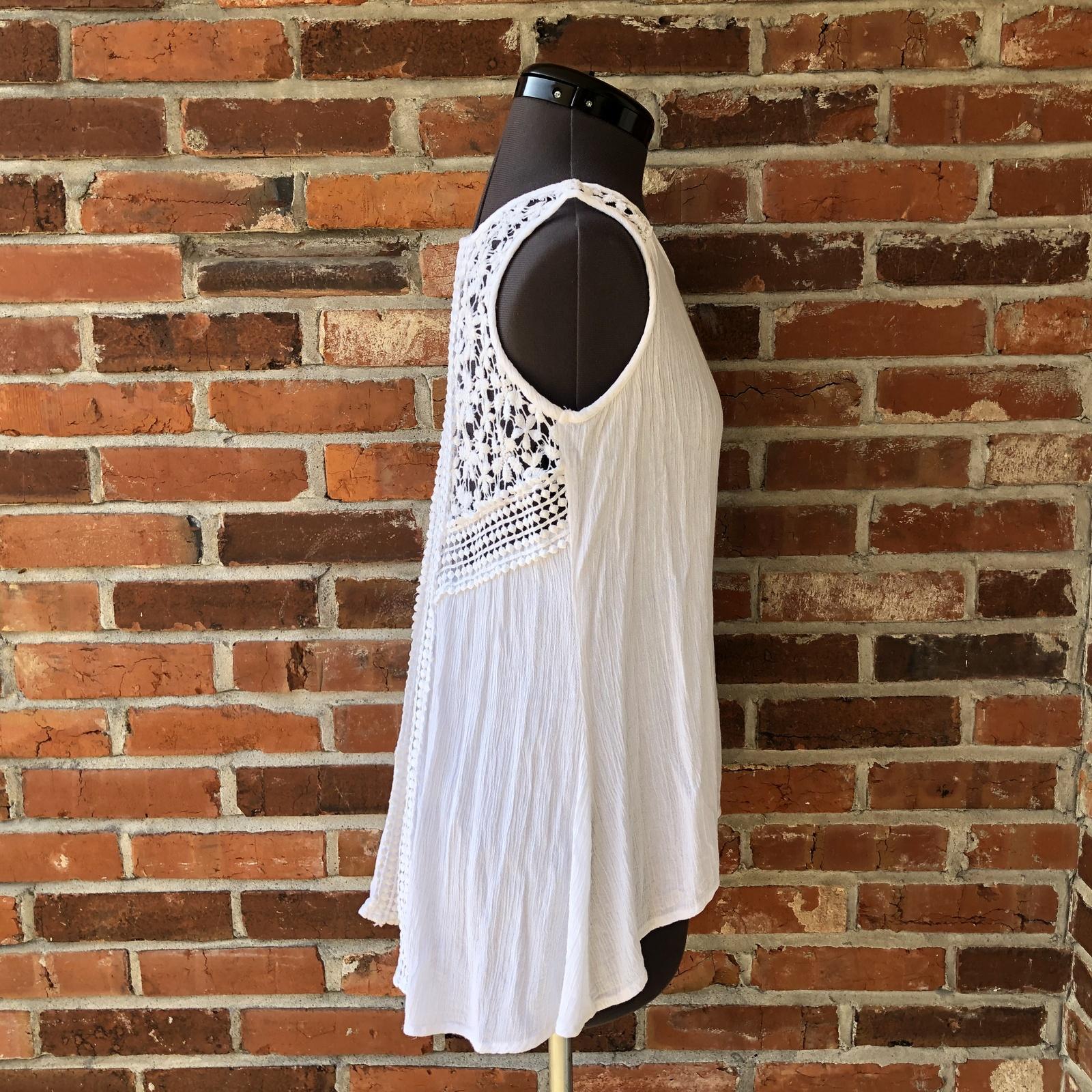 Japna White Sleeveless Crochet Top Tunic Boho Festival Sz. S