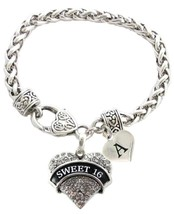 Custom Sweet 16 Heart Silver Bracelet Jewelry Birthday Gift Choose Initial Charm - $13.94