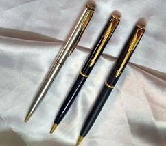 Lot Of 3 Pc Parker Insignia Ball Pen Black Matt Black And Steel - $98.01