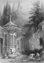 CONSTANTINOPLE Tomb in Cemetery of Scutari - 1860s Engraving Print - $13.77