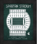 "Michigan State Spartans ""Retro"" Stadium Seating Chart 13x16 Framed Print  - $39.95"