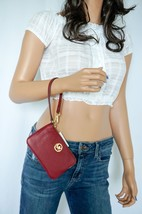 MICHAEL KORS FULTON MD TOP ZIP PEBBLED LEATHER WRISTLET MULBERRY  (NO PH... - $39.59