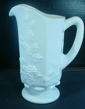 "Vintage Westmoreland White Milk Glass Paneled Grape 9"" Footed Quart Pitcher - $14.84"