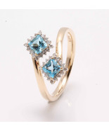 9KT Yellow Gold Ring with Aquamarines and Natural Diamonds - $269.10