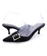 Ann Taylor Womens 7.5M Black Pointed Toe Rhinestone Buckle Kitten Heel M... - $27.99