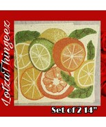 """Nicole Miller Home 14"""" Beaded Charger 2 Placemats Citrus Summer Theme - $80.18"""