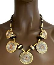 Brass, Zinc & Copper Wooden Beads Ethnic Tribal Style Handmade Necklace Earrings - $20.90