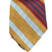Sears The Mens Store Vintage Retro Mens Tie Necktie Gold Blue Red Striped - $33.85