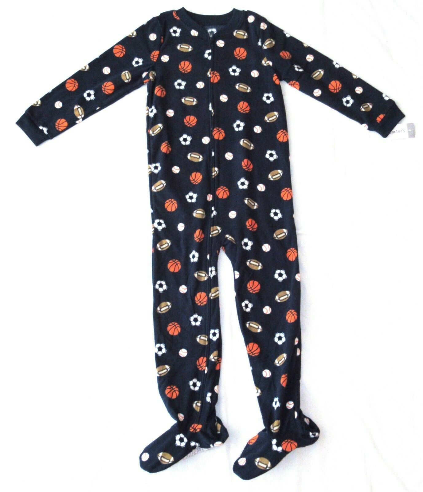 Primary image for Boy Carters Fleece Footed Pajama Blanket Sleeper 7 8 10 12 14 Navy Sports Balls