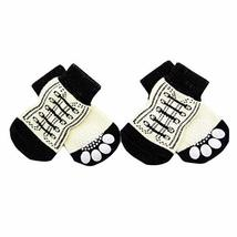 PANDA SUPERSTORE 4 Pcs White Shoes Pattern Cute Puppy Cat Socks Knitted Pet Sock
