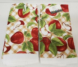 "2 SAME PRINTED TERRY KITCHEN COTTON TOWELS,16"" x 26"",WHOLE & CUT APPLES ... - $13.85"