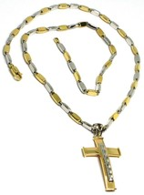 18K YELLOW WHITE GOLD TUBE ALTERNATE CHAIN, 20 INCHES & WORKED CURVED CROSS - $1,543.00