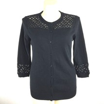 Isaac Mizrahi LIVE Large Cardigan Sweater Top Black Crochet Detail 3/4 S... - $14.50