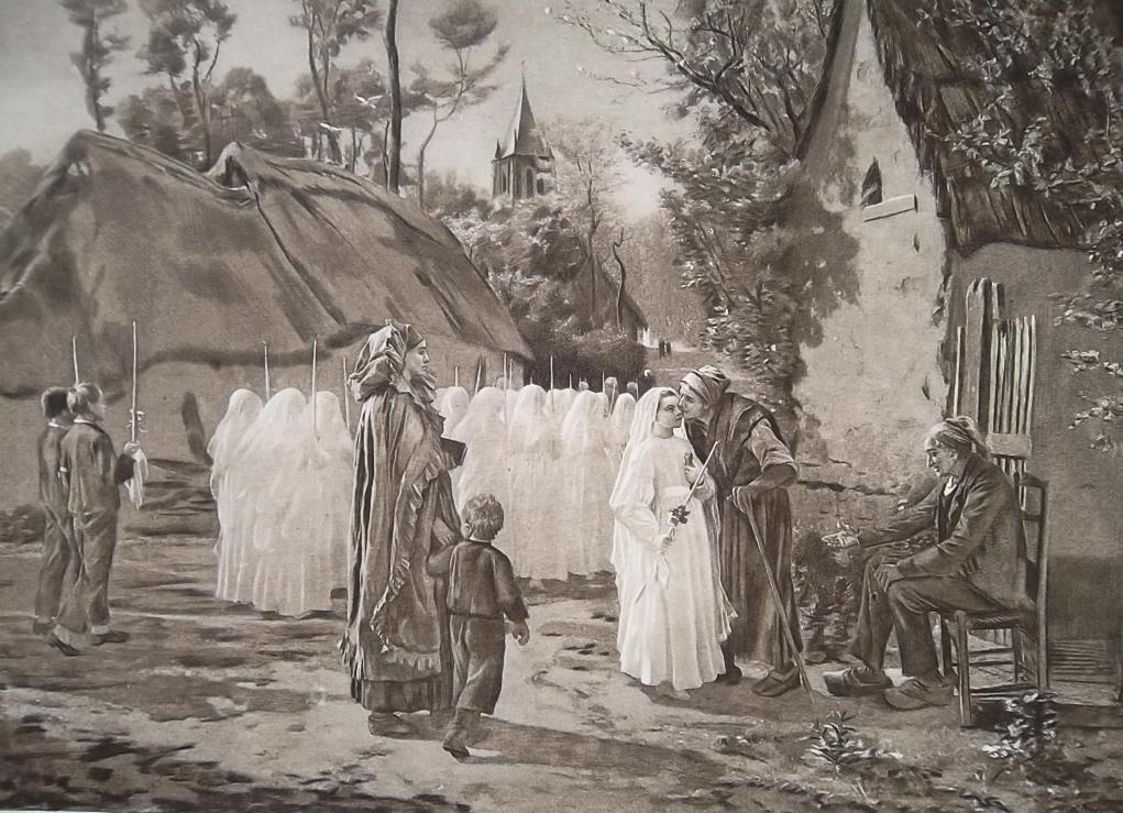 COMMUNICANTS Girls 1st Day Communion by J. Breton - 1888 Fine Antique Print