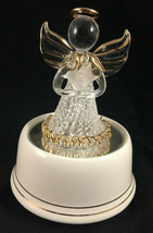 SAN FRANSISCO MUSIC BOX CO SPUN GLASS ANGEL W/ DOVES FIGURINE - $19.79