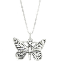Sterling Silver Open Wing One Sided Butterfly Charm Necklace - $21.49