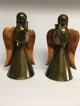 """Vintage Pair of  Brass And Copper Angel Candlestick Holders 12"""" Tall - $29.92"""