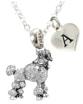 Custom Poodle Dog Silver Necklace Jewelry Choose Initial or Family Toy Miniature - $13.94