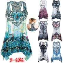 Women's Fashion Sexy Print Sleeveless Tops Slim Fit Irregular Vest WQD0374 - $15.60+