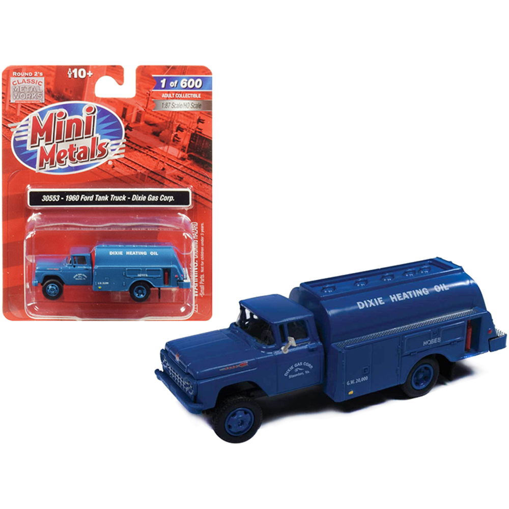 1960 Ford Tank Truck Dixie Gas Corp. Blue 1/87 (HO) Scale Model by Classic Metal