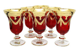 High Class Elegance Vintage Style 24k Gold Accent Red Crystal Wine Glass... - $299.00