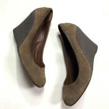 Michael kors wedge heels women's size 8 brown suede platform round toe - $39.60