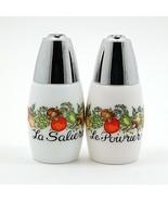 Vintage White Milk Glass Salt Pepper Shakers Green Yellow Vegetable Flowers - $14.24