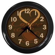 Coffee Custom Black Wall Clock - $19.95