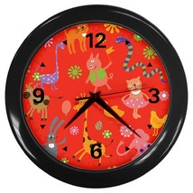 Animals Kids Custom Black Wall Clock - $19.95
