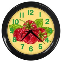 Rasberries Custom Black Wall Clock - $19.95