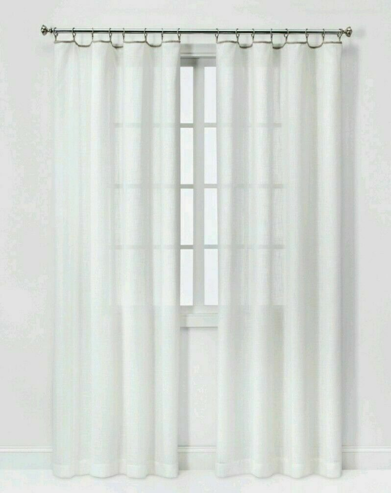"Primary image for Threshhold 54x84"" Sheer White Neutral Edge Curtain Built In Rings 1 Panel NEW"