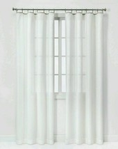 "Threshhold 54x84"" Sheer White Neutral Edge Curtain Built In Rings 1 Pane... - $24.74"